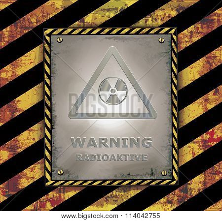 blackboard sign caution banner warning radioactive vector