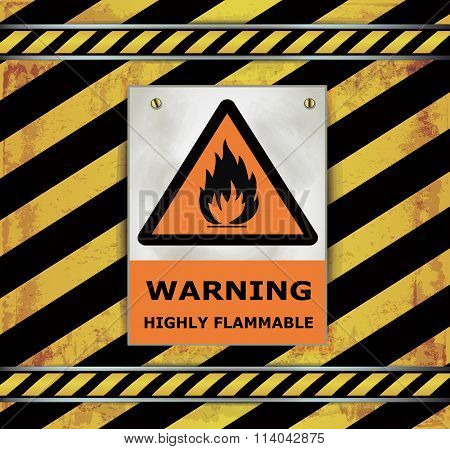 Sign caution blackboard warning highly flammable vector