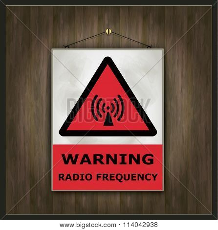 blackboard sign warning radio frequency wood vector