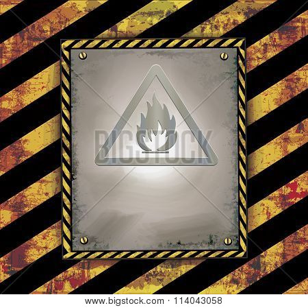 blackboard sign caution banner warning highly flammable raster