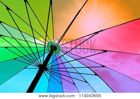 Closeup On Colorful Umbrella. See-through Sky And Sun. Abstract Color.