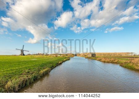 Dutch Polder Landscape With Windmill