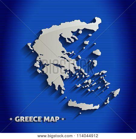 Greece map blue line 3D vector