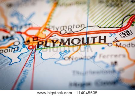 Plymouth City On A Road Map