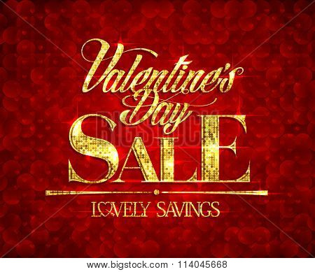 Valentine day sale, lovely savings, banner design with golden mosaic text.