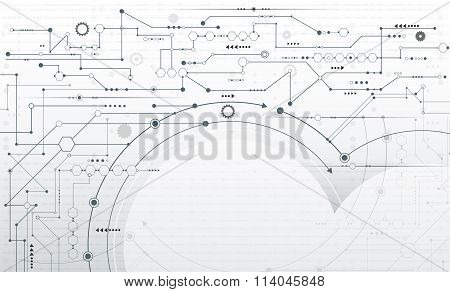 Abstract futuristic Stripe line printed circuit board pattern with gear wheel and arrow symbol