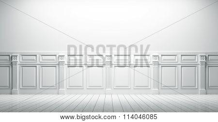 White Vintage Interior Background 3D Render