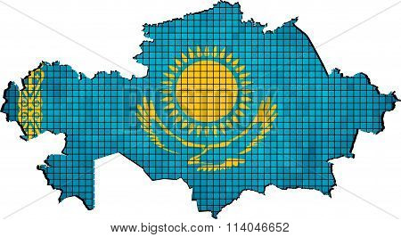 Kazakhstan Map With Flag Inside.eps