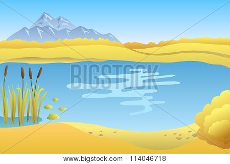 Lake autumn landscape day illustration vector
