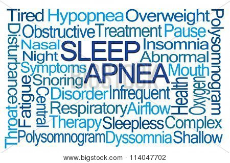 Sleep Apnea Word Cloud on White Background