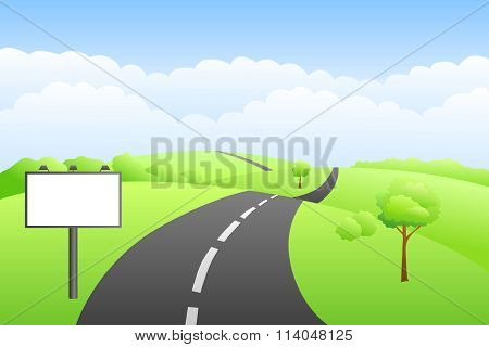 Landscape hills summer day road billboard illustration vector