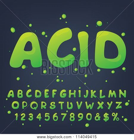 Vector numbers and symbols made of acid.