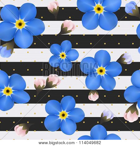 Blue Forget Me Not Flowers On The Striped Background. Seamless Pattern With Summer Flowers.