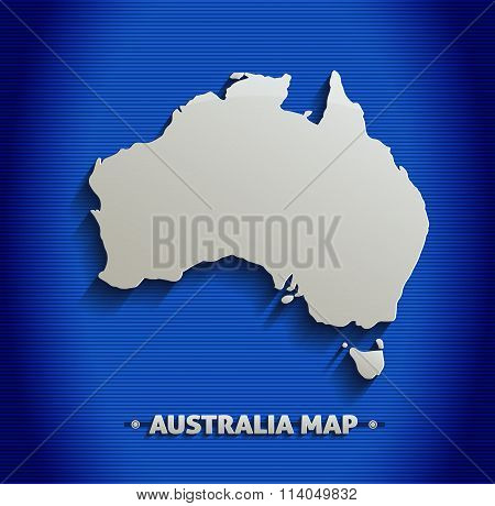 Australia map blue line 3D vector