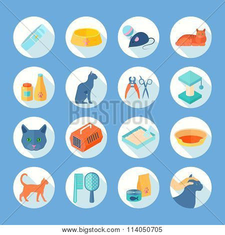 Cat care  flat round icons set