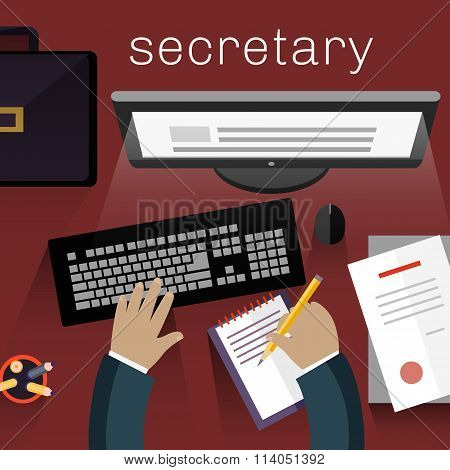 Workspace Secretary Design Flat