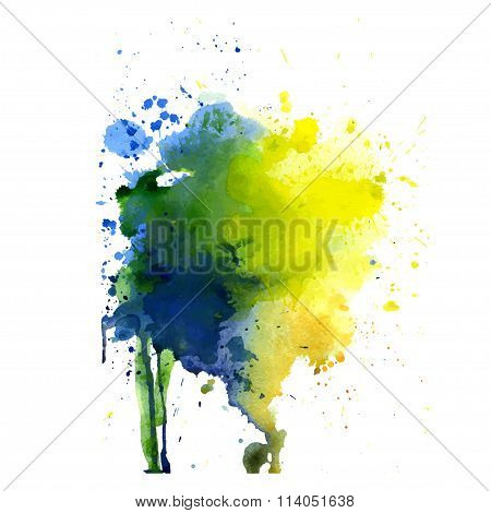 Spot watercolor art hand paint isolated vector