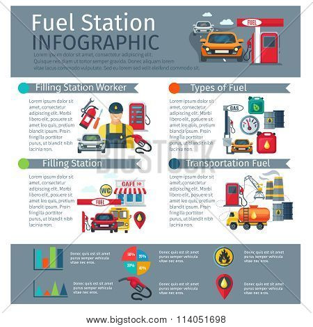 Gas Station Infographic Set