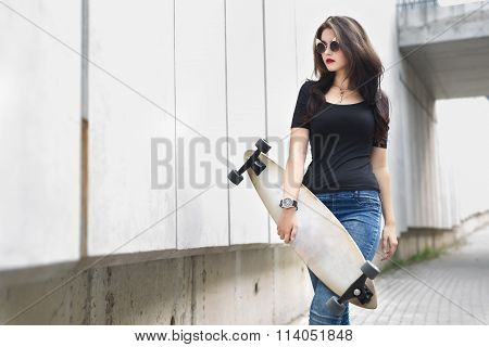Girl with long boards