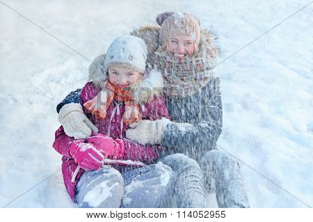 Family - Mother With Her Daughter - Play In The Snow, Enjoying Winter And Feel Happy
