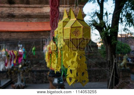 Lanterns Hang In Front Of A Temple In Chiang Mai, Thailand During Loy Krathong.