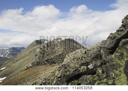 mountain landscape with snow tops of mountains