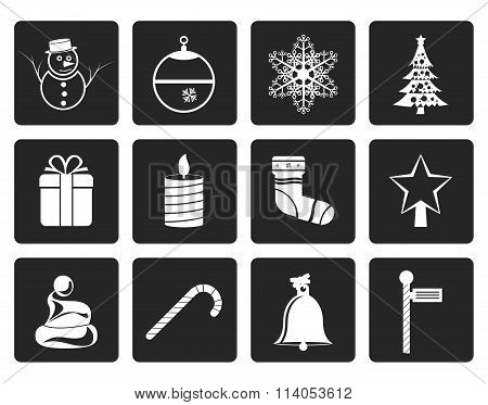 Black Beautiful Christmas And Winter Icons