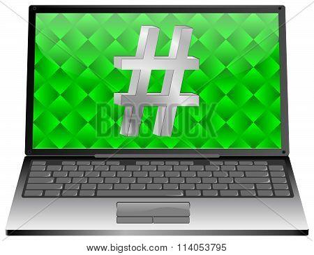 Laptop with Hashtag symbol
