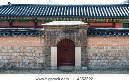 Wall Pattern And Art Taken In The  Gyeongbokgung Palace In Seoul South Korea.