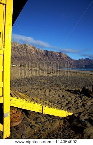 Lifeguard Chair Cabin Lanzarote  Rock Stone Sky   Coastline And Summer