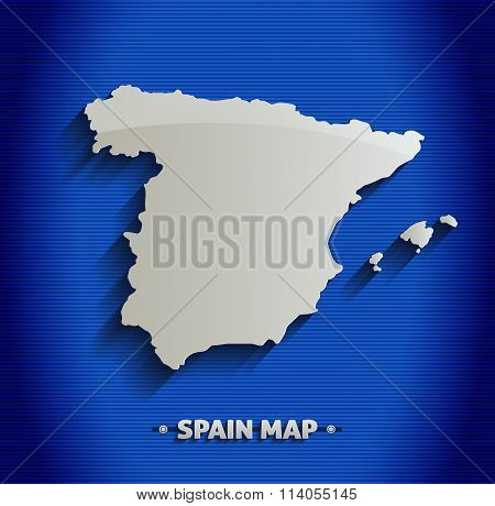 Spain map blue line 3D vector