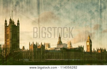 House of Parliament sunset panorama in Westminster in London - vintage postcard
