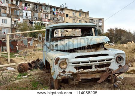 Rusting abandoned van in Baku, capital of Azerbaijan