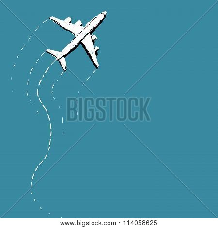 Swerving Airplane Over Blue