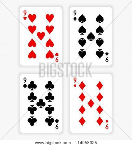 Playing Cards Showing Nines From Each Suit