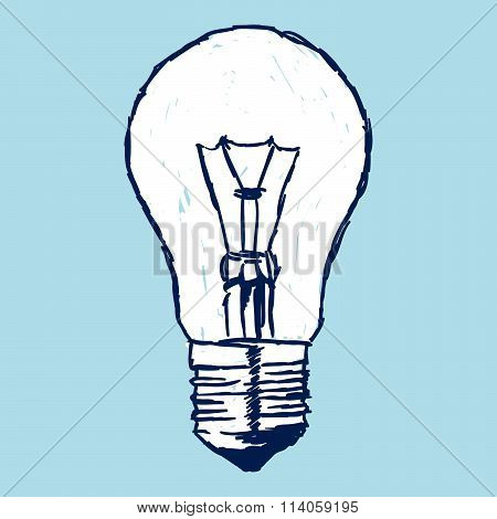 Incandescent Bulb Over Blue