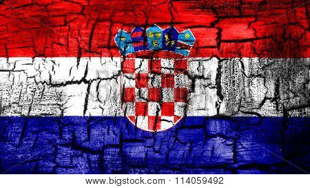 Flag of Croatia, Croatian flag painted on cracked ground