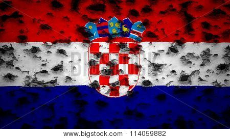 Flag of Croatia, Croatian flag painted on wall with bullet holes