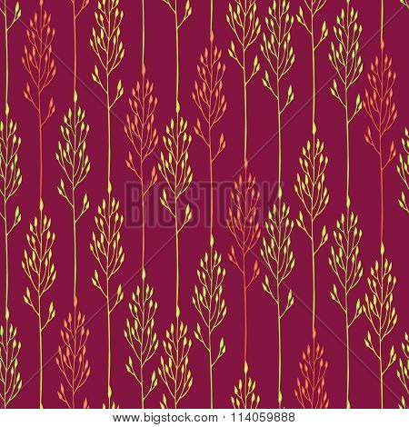 Floral Pattern With Spikelets And Grass