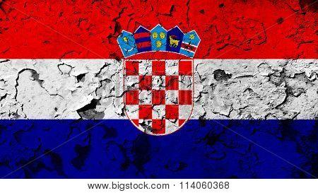 Flag of Croatia, Croatian flag painted on cracked paint