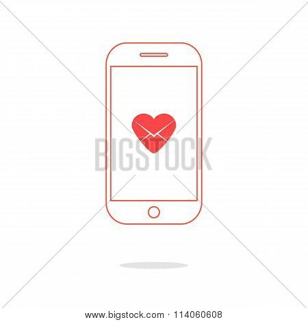 heart letter icon in red outline smartphone