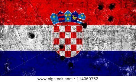 Flag of Croatia, Croatian flag painted on metal with bullet holes