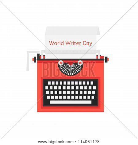 world writer day with red typewriter
