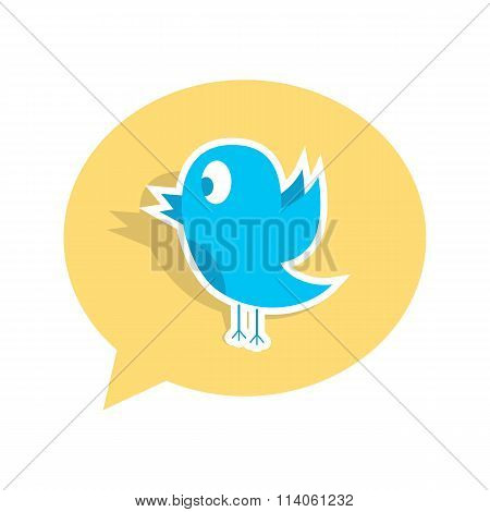 blue bird sticker on yellow speech bubble