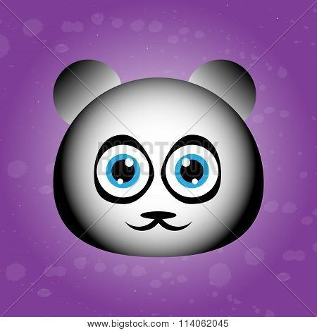 Cute face of panda on violet backgraound