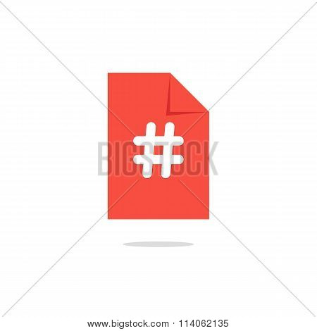 white hashtag icon on orange sheet with simple shadow