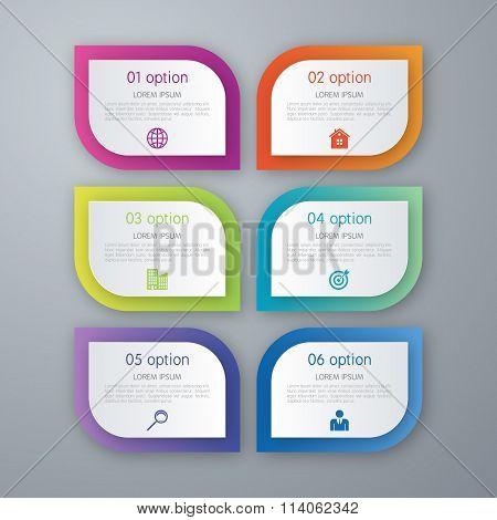 Six step infographics mockup template