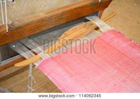 Close Up Loom Weaving Silk Pink  In Thailand