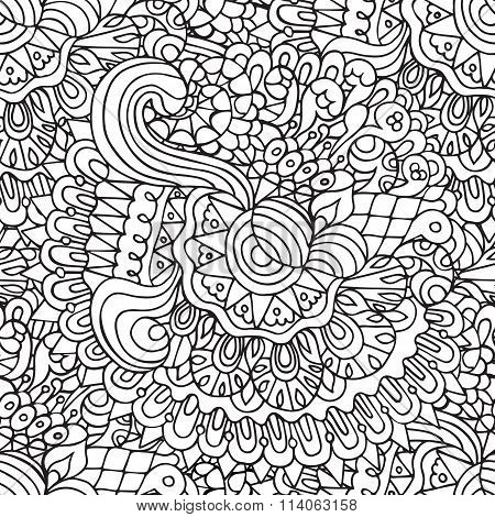 Doodles Floral And Curves Outline Ornamental Seamless Pattern