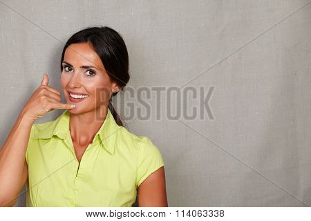 Caucasian Ethnicity Woman Gesturing Phone Call